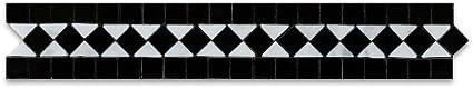 Carrara White & Black Marble Honed BIAS Border Listello - 5