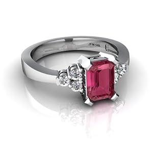 14kt Gold Pink Tourmaline and Diamond 7x5mm Emerald_Cut Simply Elegant Ring