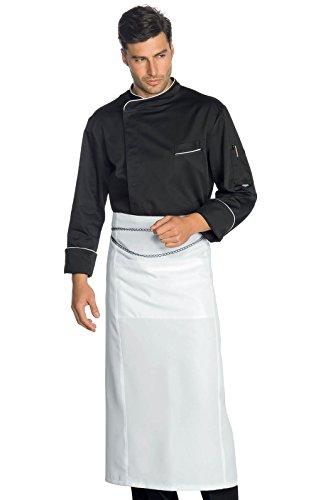 Isacco - Veste Chef Cuisinier Pretoria Noir Liseré Blanc