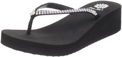 ustard Wedge Flip Flop, Black, 8 M US (Yellow Custard)
