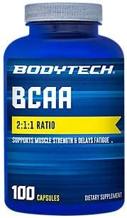 BodyTech BCAA Branched Chain Amino Acid Optimal 2 1 1 Ratio Supports Muscle Recovery Endurance 100 Capsules
