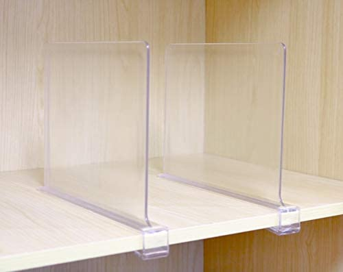 CY craft Shelf Dividers for Closets Clear Acrylic Shelf Divider for Wood Shelves and Clothes Organizer//Purses Separators Perfect for Kitchen Cabinets and Bedroom Organizer,2 Pieces
