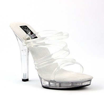 Mini Strappy Sandals (5 Inch Sexy Clear Shoes High Heel Mini Platform Strappy Shoes Sandal Size: 8)