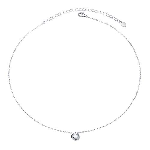 S925 Sterling Silver Small Bell Bead Choker Short Necklace Pendant for Women - Silver 925 Bells Sterling