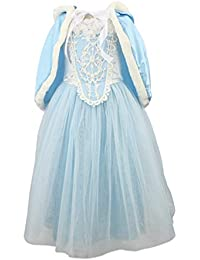 Princess Girls Blue Costume Cosplay Fancy Party Girls Wedding Dress with Fur Trim Cape (3-8years, blue/red)