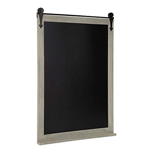 Combination Chalkboard - Kate and Laurel Cates Modern Farmhouse Barn Door Wood Framed Chalkboard, Rustic Gray