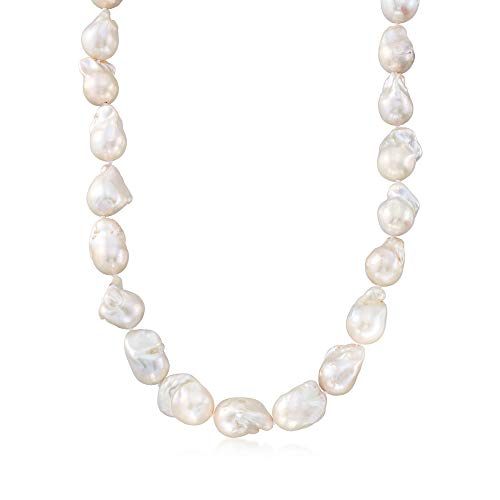 Ross-Simons Certified 12-15mm Cultured Baroque Pearl Necklace With 14kt Yellow Gold (13 Mm Cultured Pearl)