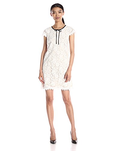 ABS Allen Schwartz Women's Lace Shift Dress Contrast Bow at Neck, Ivory, Small