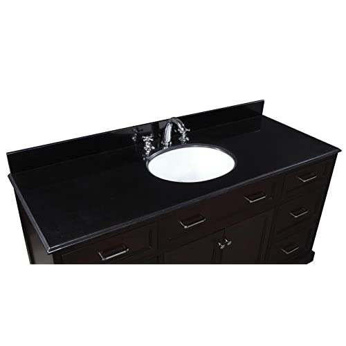 good Kitchen Bath Collection KBC561BK Amelia Single Sink Bathroom Vanity with Marble Countertop, Cabinet with Soft Close Function and Undermount Ceramic Sink, Black/Chocolate, 60""