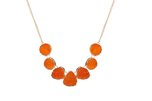 Pendant Orange Necklace - Clockwork Baby Drusy Stone Statement Necklace Bib Druzy Chunky Necklace for Women (Orange)