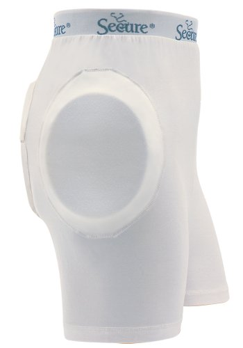 Protector Hip (Secure Unisex Soft Hip Protector w/ Removable Tailbone Pad, White - Medium)
