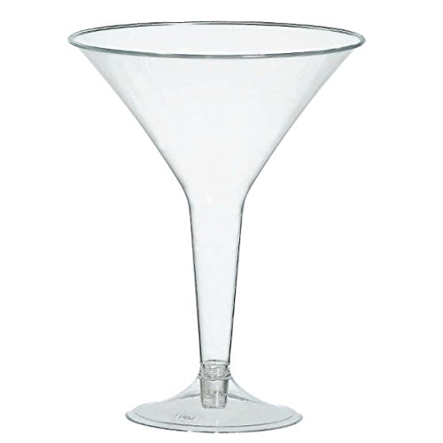 Amscan 35010086 Plastic Martini Glasses, 8-Ounce, Clear, 20 Per Package