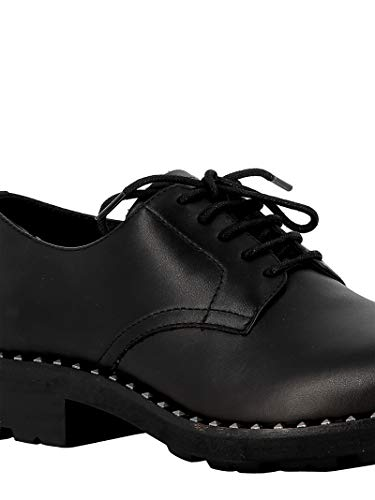 Zapatos Whisperblack Mujer Cordones Negro Cuero Ash De qaTzxwq