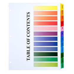 amazon com skilcraft table of contents color tab dividers jan