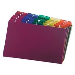 Card Guides, Alpha, 1/5 Tab, Polypropylene, 5 x 8, 25/Set, Sold as 1 Set