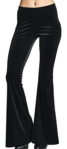 1970's Flared Pants - High Waist Soft Crushed Velvet Gypsy Comfy Yoga Ethnic Tribal Stretch 70s Bell Bottom Flare Pants (Large, Black)