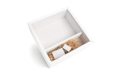 Wood Wash White Photo Box with a Clear Acrylic Sliding Lid w