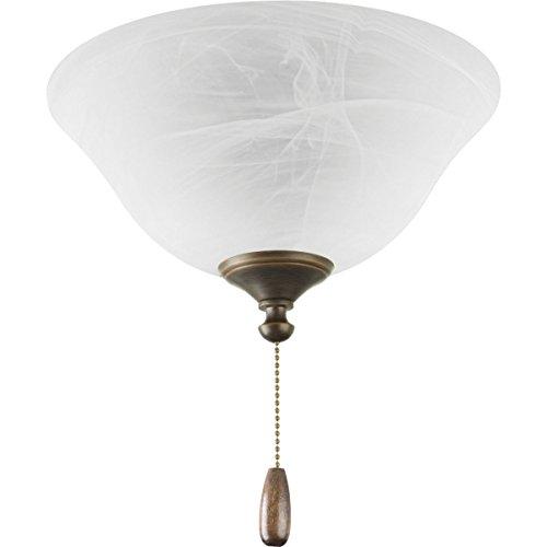 Progress Lighting P2612-20 AirPro 3-Light Ceiling Fan Light, Antique (Antique Bronze 3 Bulb)