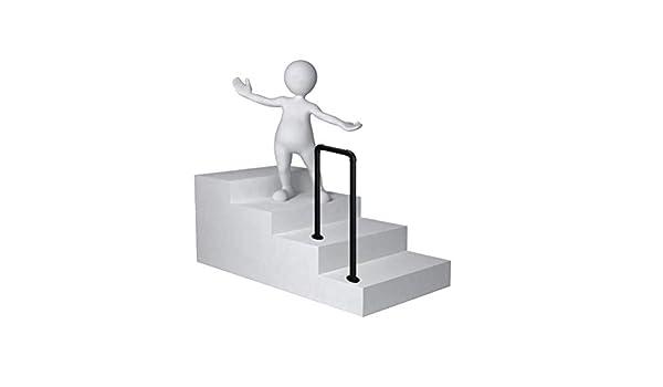 Barandilla de hierro forjado con riel de escalera negra, barra de apoyo de peldaño en forma de U de 2 escalones, barra de seguridad para niños mayores de interiores y exteriores para