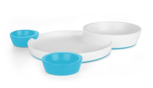 Boon Groovy Interlocking Plate and Bowl - Blue by Boon