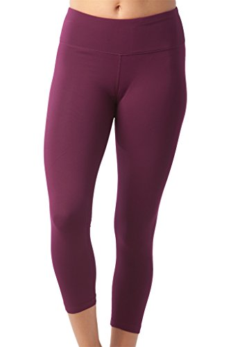 90 Degree By Reflex Yoga Capris - Yoga Capris For Women - Hidden Pocket - Dark Berry - - Dark Pants Street