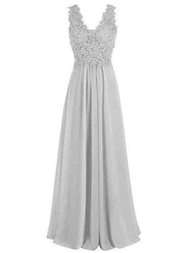 Mit Beyonddress Abendkleider Ausschnitt Silber Brautjungfernkleider Applikation Lange V Chiffon Damen Festkleider qr8FwCqO
