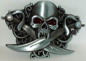 [Pirate Human Skull Swords Red Eyes New Steel Belt Buckle!] (Pirate Hair)
