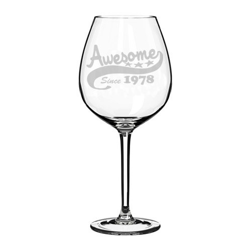 Wine Glass Goblet Funny 40th Birthday Awesome Since 1978 (10 oz) MIP SYNCHKG121478