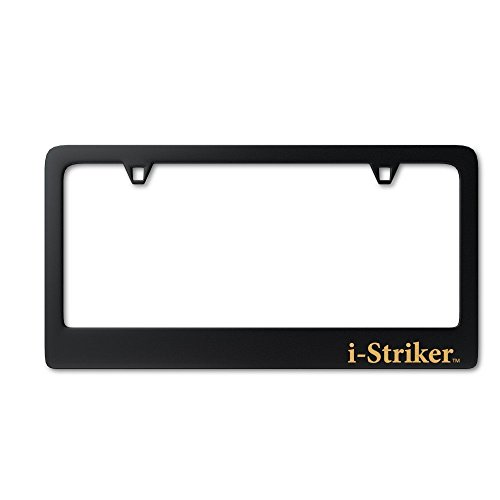 Premium License Plate Frame Black Metal Matte 2 Hole from I-Stricker for US Trucks & Autos including BMW, Mercedes, Audi, Lexus, Cadillac, etc.- 1 year Satisfaction Guarantee - Order Now