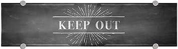 Chalk Burst Premium Brushed Aluminum Sign 5-Pack Keep Out 24x6 CGSignLab