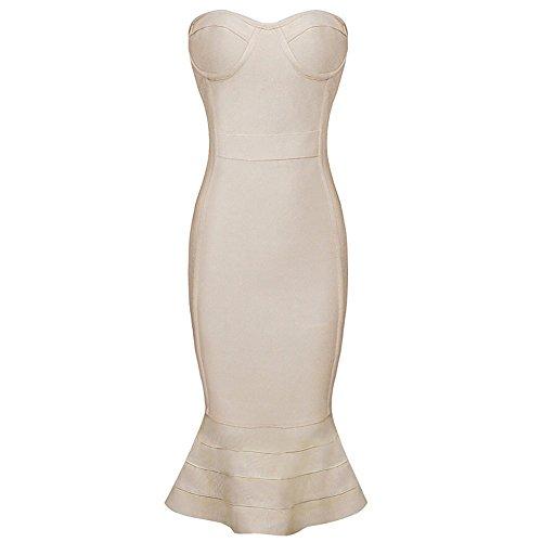 Women Strapless Fishtail Rayon Bandage Hlbandage Stripe Dress Mermaid Beige wIzxEq