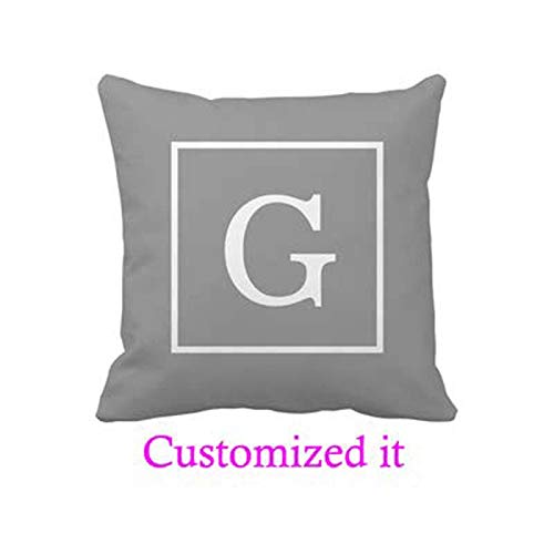 Dark Gray White Framed Initial Monogram Pillowcase Customized Text Outdoor/Indoor Throw Pillow Covers (Pillow Initial)