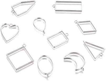 Xinhengchen 幾何学的な金属フレーム ベゼルチャーム中空フレーム付きオープンベゼルペンダント ジュエリーペンダント DIYのジュエリーアクセサリー DIYと押されたフラワーメイキング 1パックスライバー(10個入) Sliver