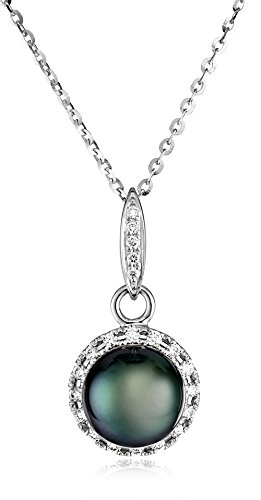 TARA Pearls 14k White Gold Black Tahitian Cultured Pearl and Diamond (1/5cttw) Pendant Necklace, 18