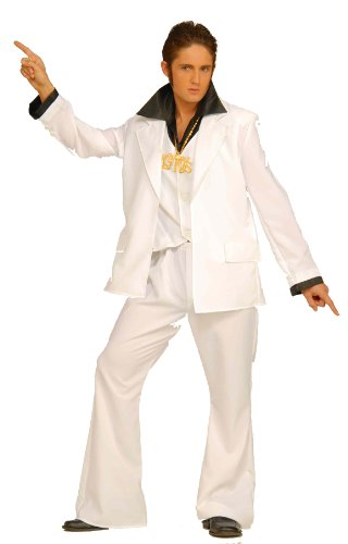 [Forum Disco Fever White Disco Suit, White, Standard Costume] (Mens Disco Costumes Pants)
