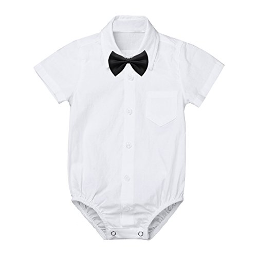 MSemis Baby Boys' White Formal Dress Shirts Gentleman Romper Bodysuit Wedding Party Outfits Short Sleeve Bow-tie 6 Months]()