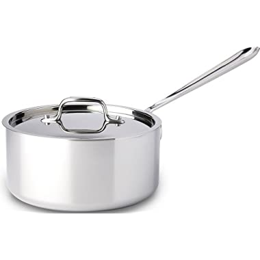 All-Clad 4203 Stainless Steel Tri-Ply Bonded Dishwasher Safe Sauce Pan with Lid / Cookware, 3-Quart, Silver