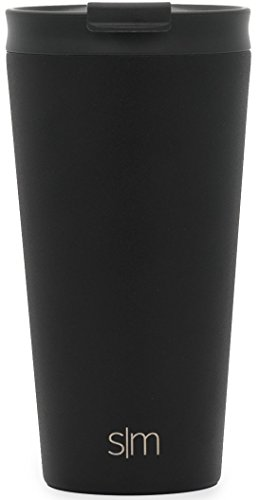 Simple Modern 16oz Classic Pint Tumbler Mug with Straw Lid and Flip Lid - Vacuum Insulated Beer Glasses Tumbler Flask 18/8 Stainless Steel Hydro Thermos Cup - Midnight Black by Simple Modern (Image #2)