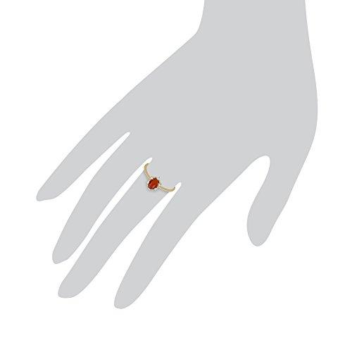 Gemondo Opale De Feu Bague, 9ct Or Jaune 0.33 Carats Feu Opale & Diamant Bague Grappe