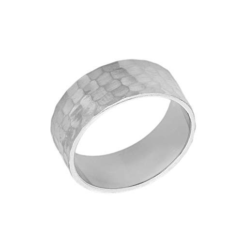 Men's Fine 8mm Hammered Wedding Band in Solid 10k White Gold (Size 9)