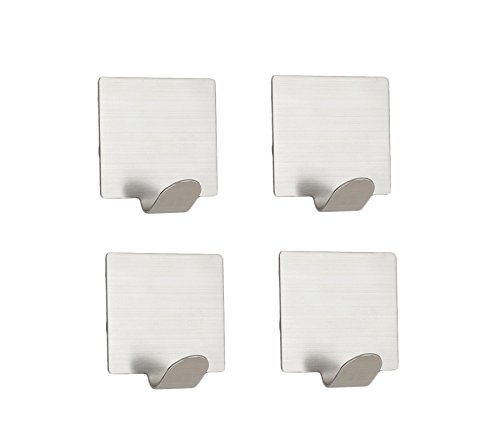 NELXULAS Brushed Stainless Steel Self Adhesive Mini Wall Mount Hook,Table hooks, key hooks, necklace holder, Fit for Bedroom,Living room, Bathroom and Fiting room, Office,Set of 8 in pack delicate