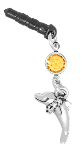 Clayvision Hula Dolphin Phone Charm Topaz Colored Swarovski Crystal November Black Plug