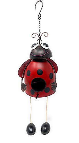 Country Garden Metal Iron Wall Art Decor Nature Inspired Sculptures for Indoor Outdoor Birdhouse (Ladybug) by Country Garden