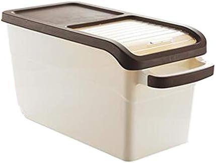 米びつ 保存容器 10-15KGライス保存容器気密食品容器キッチン用ホイールで封止さ穀物穀物オーガナイザー(ベージュ) 米粉シリアルキッチン収納用 (Color : Beige, Size : Big)