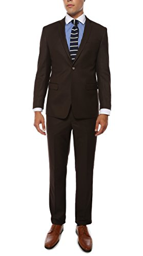 42R Ferrecci Mens ETRO 2pc Brown Tone-on-Tone Pinstripe Slim Fit (Brown Pinstripe Pants)