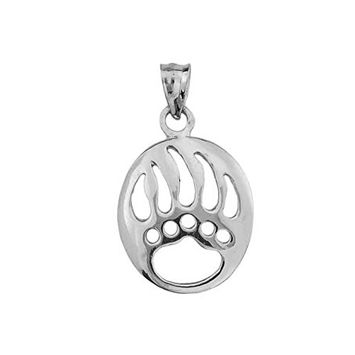 Fine Sterling Silver Cut-Out Bear Paw Charm - Pendant Sterling Bear
