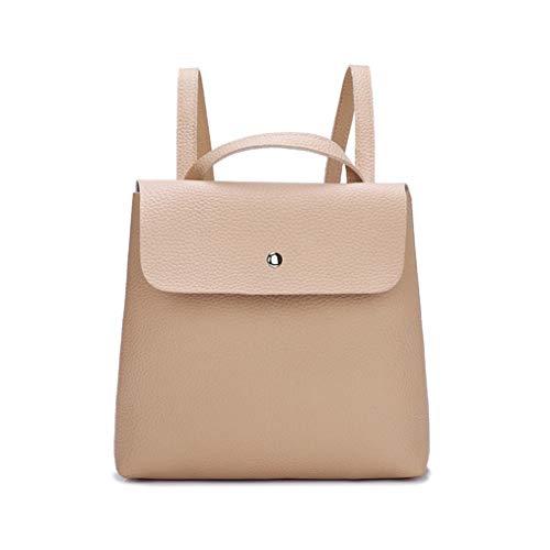 Fashion Simple Women Ladies Girl Pure Color Leather Mini School Bag Backpack Shoulder Bag Handbag Khaki