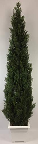 (Outdoor Artificial UV Rated 7 ft Cedar Topiary Tree with Square Sandstone Planter)