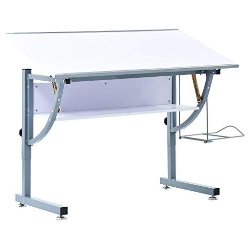 Tidyard Mesa De Dibujo Para Adolescentes MDF Blanco 110x60x87 Cm,con 2 Reglas Integradas