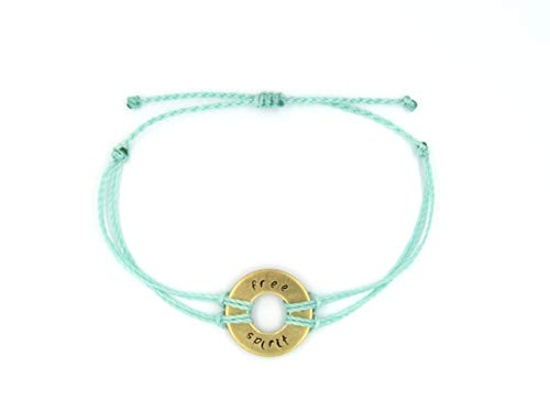 Free Spirit Hand Stamped Bracelet in Solid Brass, Strands available in Multiple Colors with an Adjustable Closure, fits Adults & Children (Spirit Strand Bracelets)
